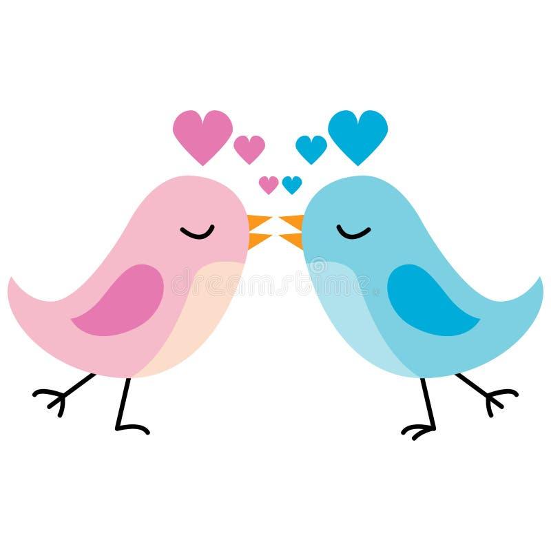 Baisers des oiseaux d'amour illustration de vecteur