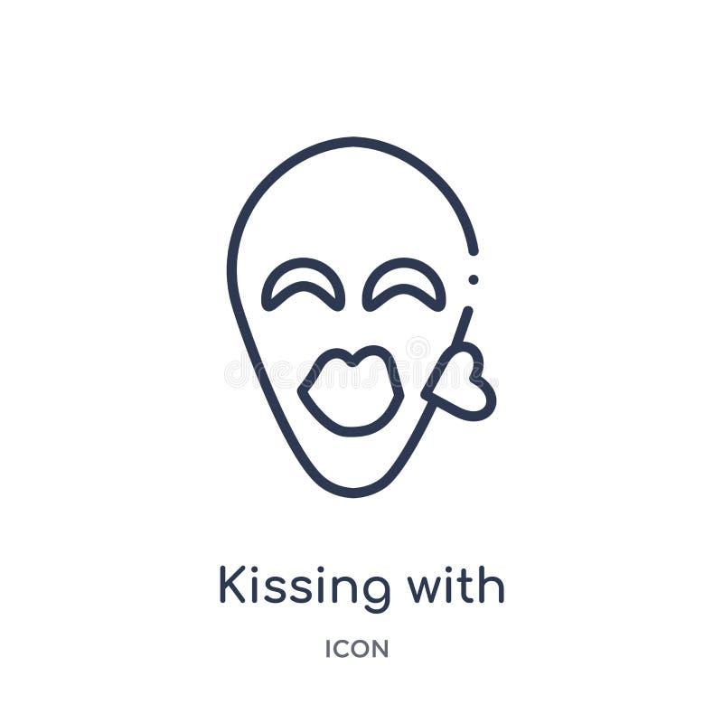 Baisers linéaires avec l'icône fermée d'emoji de yeux de la collection d'ensemble d'Emoji Ligne mince embrassant avec le vecteur  illustration stock