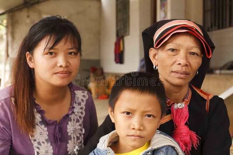 Portret van een familie Yao stock afbeelding