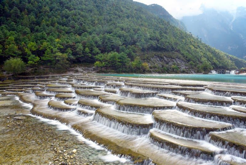 Baishui flod på Jade Dragon Snow Mountain royaltyfri bild