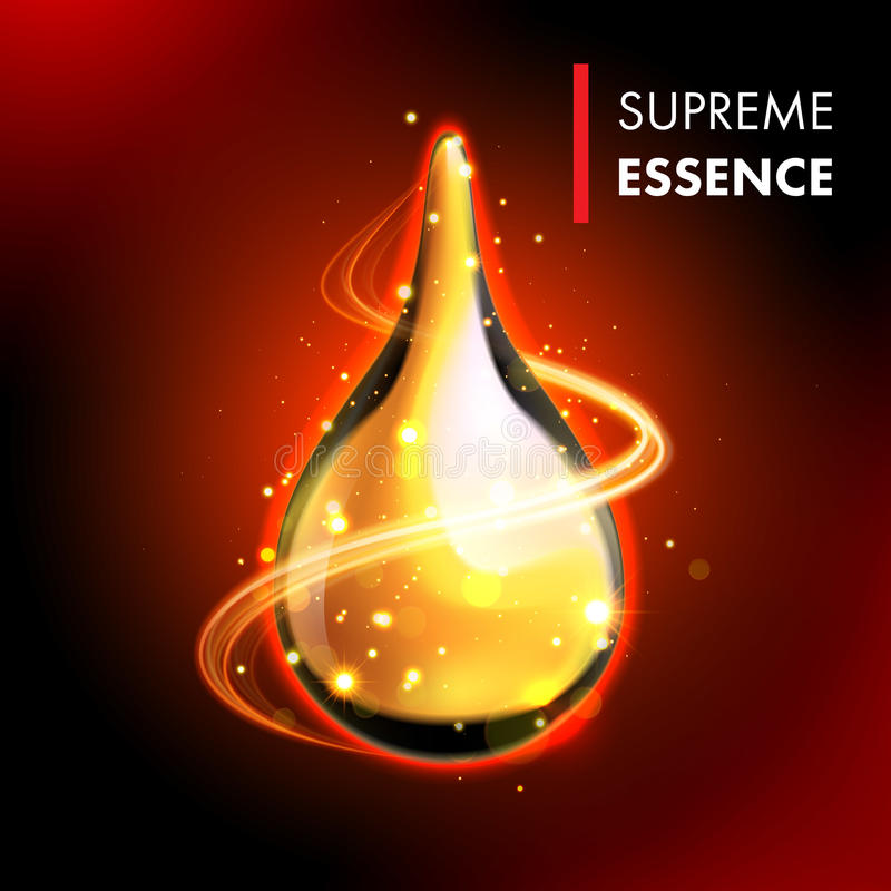 Baisse brillante de la meilleure qualité d'huile d'or suprême d'essence illustration de vecteur
