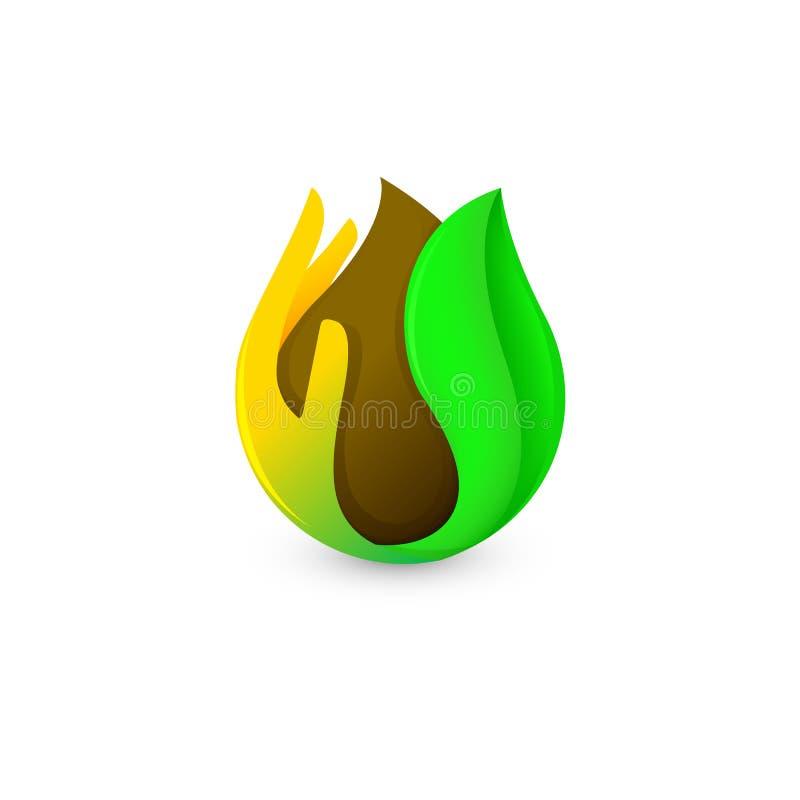 Baisse brune abstraite d'isolement de couleur dans la paume et le logo vert de feuille Logotype de café et de chocolat Icône de p illustration de vecteur