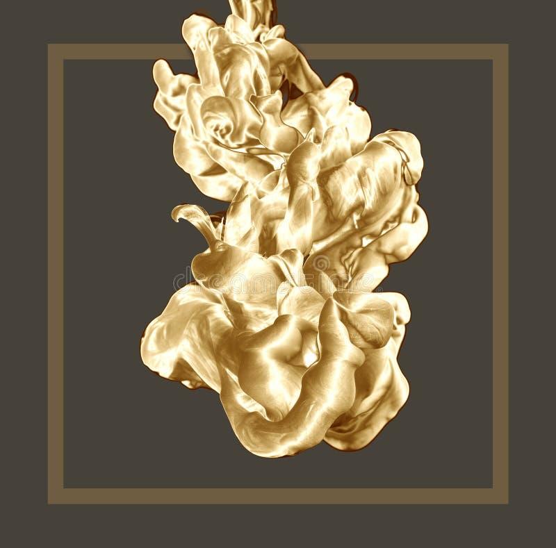 Baisse d'or abstraite d'encre sur le fond clair avec le cadre Style moderne Photographie cr?ative Copiez l'espace illustration de vecteur