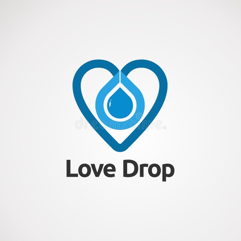 Baisse d'amour avec le vecteur, l'icône, l'élément, et le calibre bleus de logo de couleur pour des affaires illustration stock