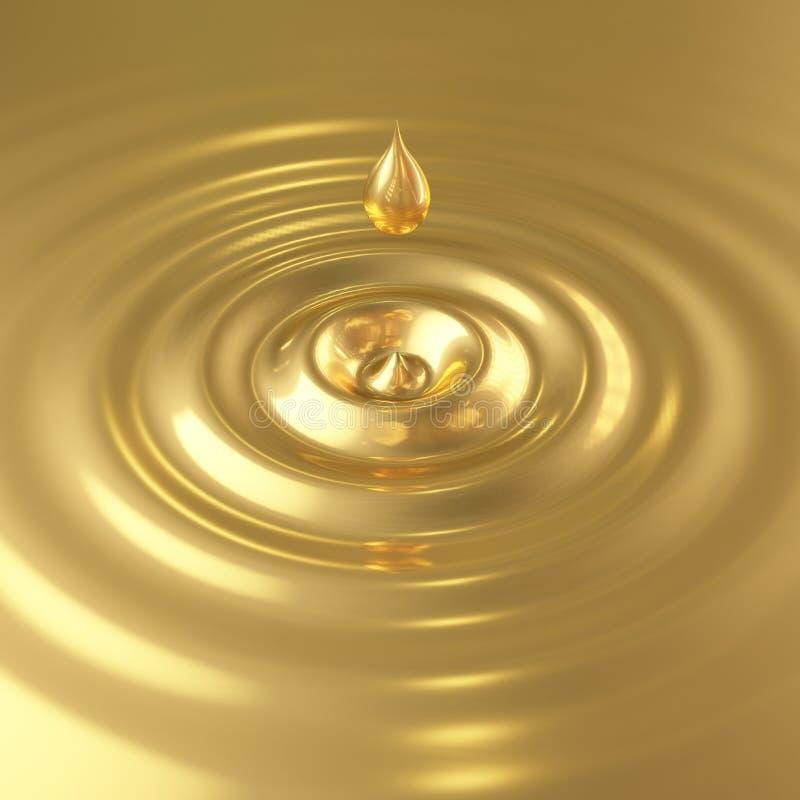 Baisse d'or avec des vagues illustration stock