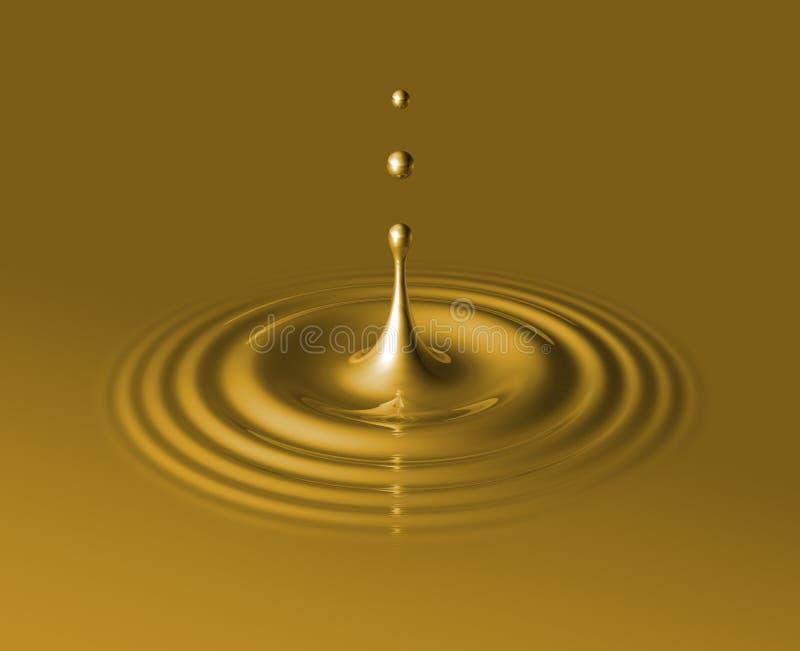Baisse d'or et d'ondulation liquides illustration stock