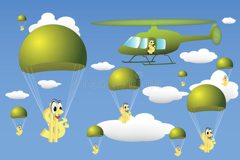 Baisse d'hélicoptère d'argent illustration libre de droits