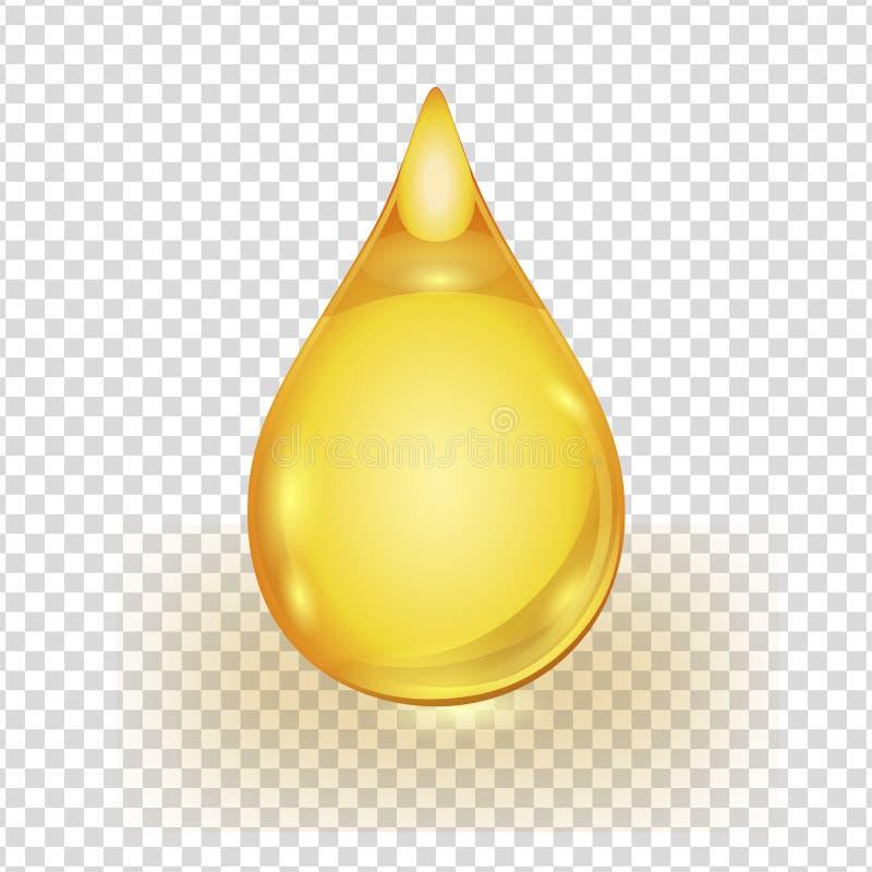 Baisse d'or d'huile d'isolement sur le fond transparent illustration stock