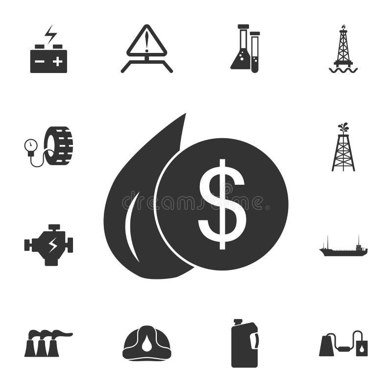 Baisse d'icône du dollar d'huile Illustration simple d'élément Baisse de conception de symbole du dollar d'huile d'ensemble de co illustration stock