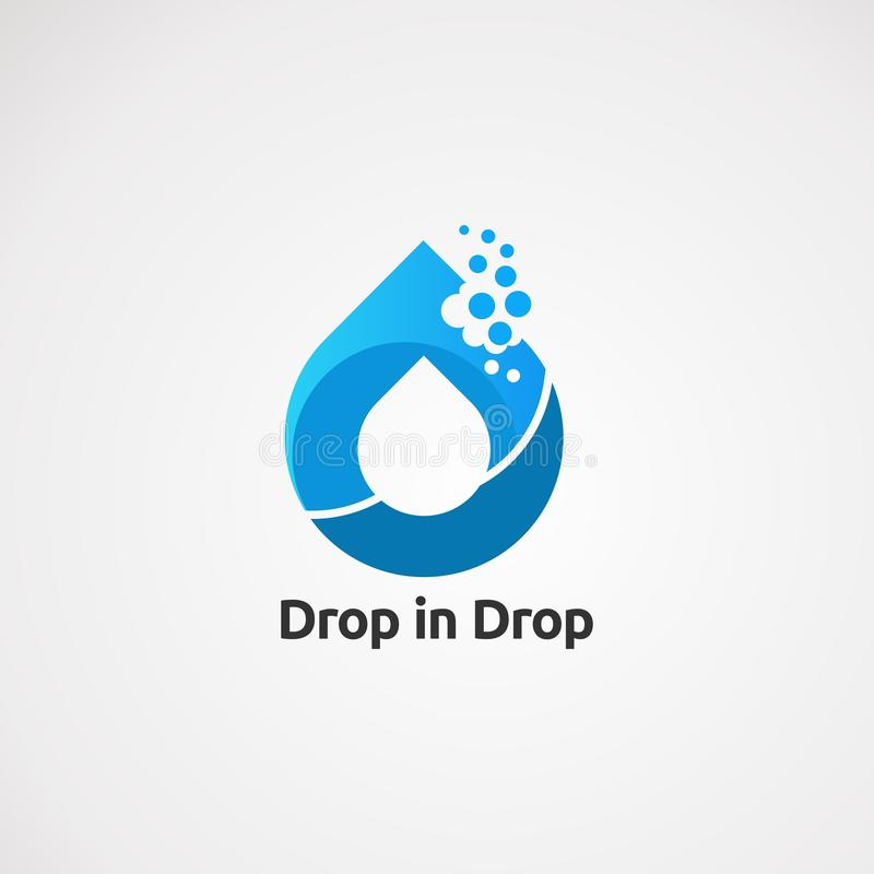 Baisse dans le vecteur, l'icône, l'élément, et le calibre de logo de l'eau de baisse pour la société illustration libre de droits