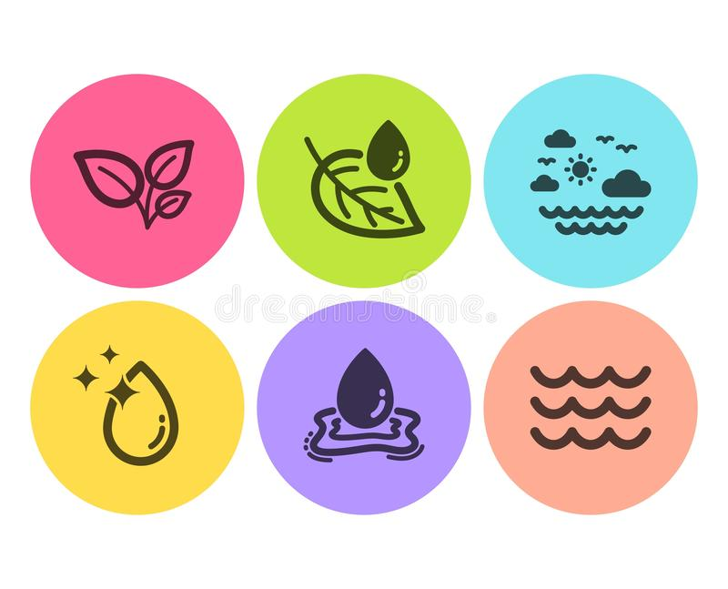 Baisse de feuilles, d'eau et ensemble d'icônes de rosée de feuille Mer de voyage, éclaboussure de l'eau et signes de vagues Culti illustration libre de droits