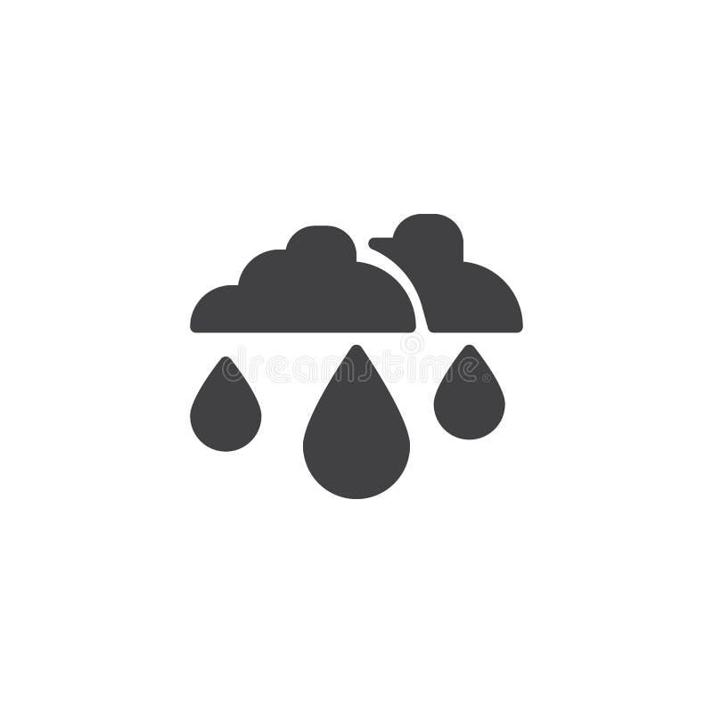 Baisse de pluie et icône de vecteur de nuages illustration libre de droits