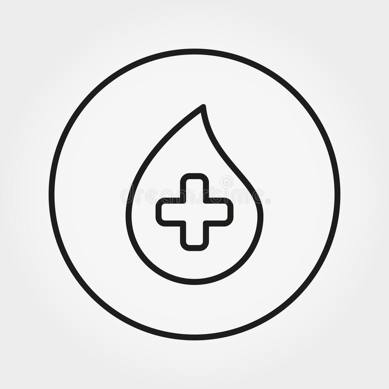 Baisse de sang avec la croix Icône universelle Vecteur Ligne mince Editable illustration de vecteur