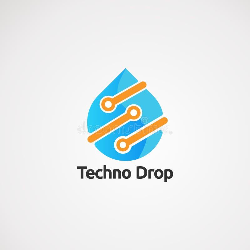 Baisse de techno avec le vecteur, l'icône, l'élément, et le calibre oranges de logo de contact de couleur pour la société illustration stock