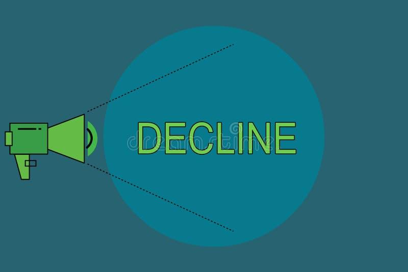 Baisse des textes d'écriture de Word Le concept d'affaires pour Become plus petit moins que moins de diminution refusent poliment illustration stock