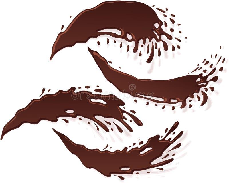 Baisse Jet Stream Set de tache d'éclaboussure de bannière de chocolat illustration stock