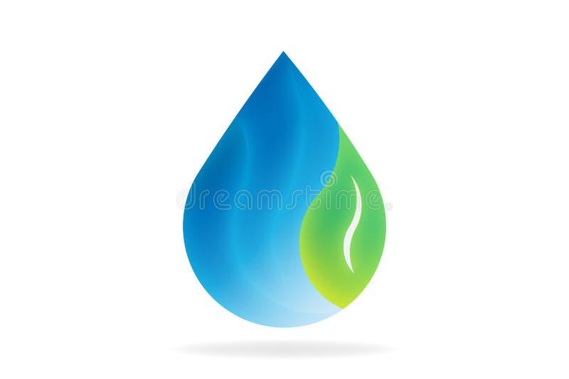 Baisse naturelle de l'eau avec la feuille Symbole de logo de vecteur illustration libre de droits