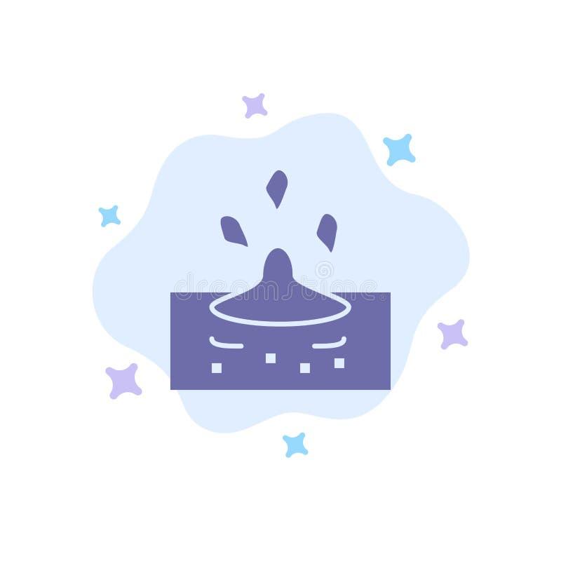 Baisse, pluie, pluvieuse, icône bleue de l'eau sur le fond abstrait de nuage illustration stock
