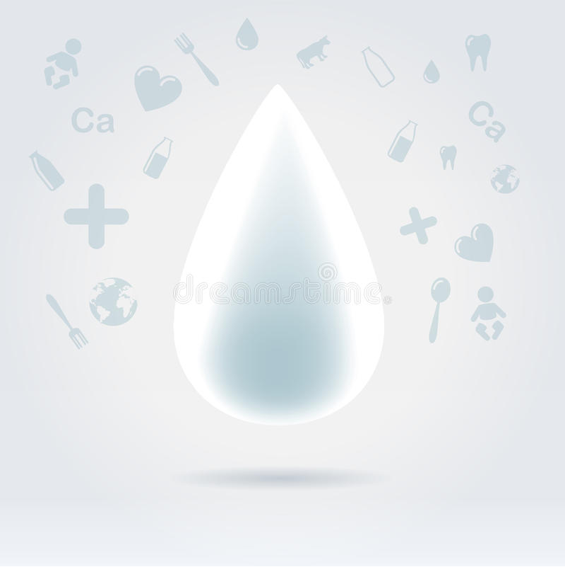 Baisse rougeoyante blanche de lait avec des graphismes de sujet illustration de vecteur