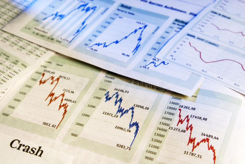 Baisse in the stock market stock photography
