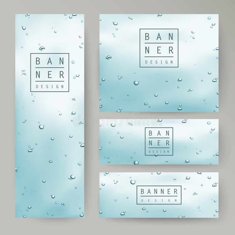 Baisses élégantes de l'eau sur des bannières de concept de verre de fenêtre illustration stock