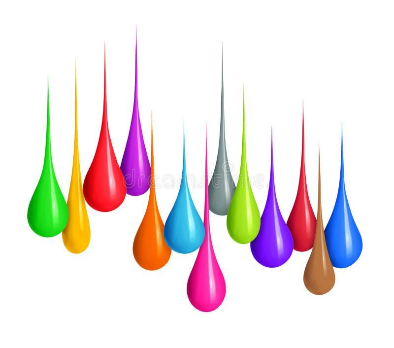 Baisses colorées du divers plan rapproché de formes d'isolement sur le blanc photo libre de droits
