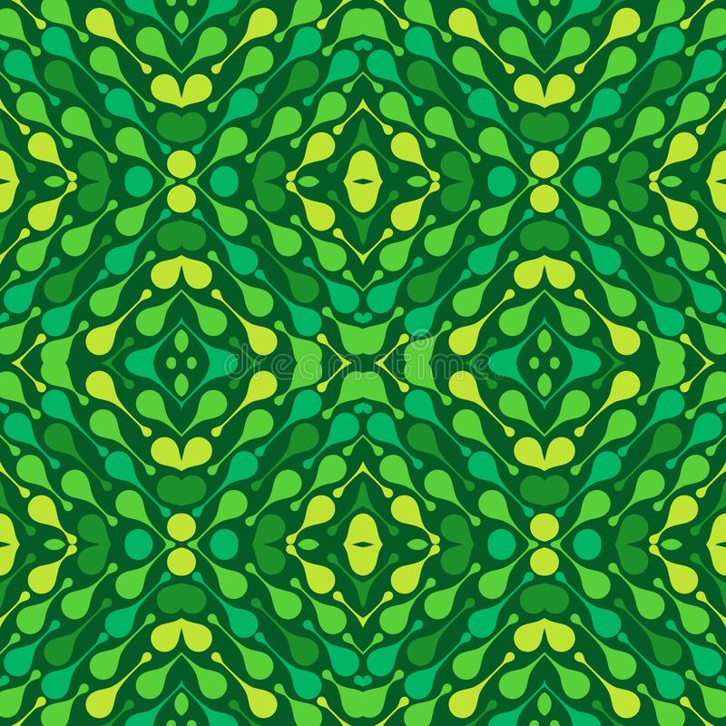 Baisses colorées sur le fond vert-foncé Modèle sans couture de vecteur d'abrégé sur ressort pour le textile, les copies, le papie illustration de vecteur