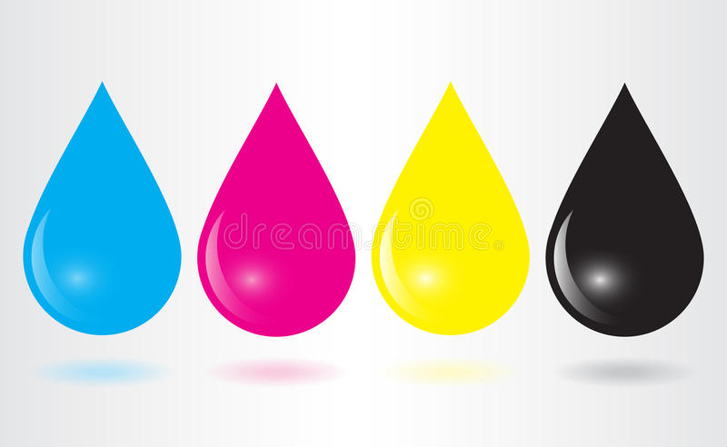 Baisses d'encre de Cmyk illustration stock