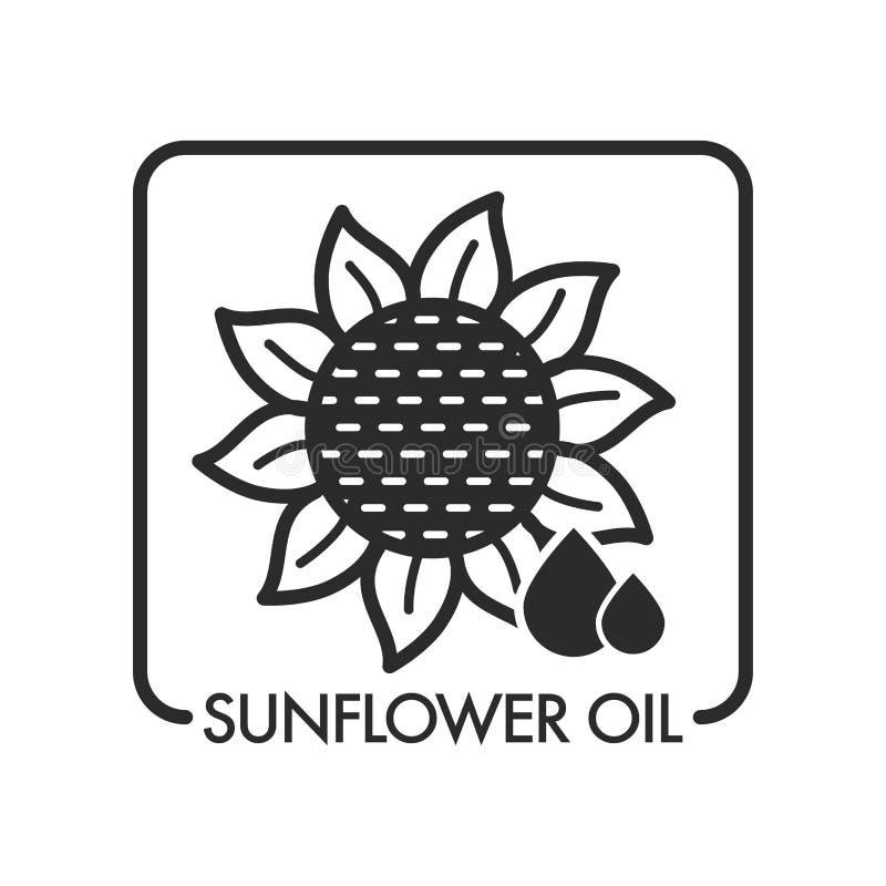 Baisses d'huile de tournesol et industrie graphique d'usine avec le texte illustration stock