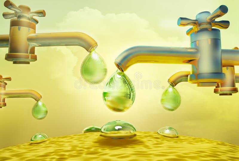 Baisses de baisse de l'eau hors des robinets illustration libre de droits