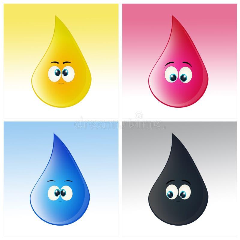 Baisses de couleurs pour l'imprimante illustration libre de droits