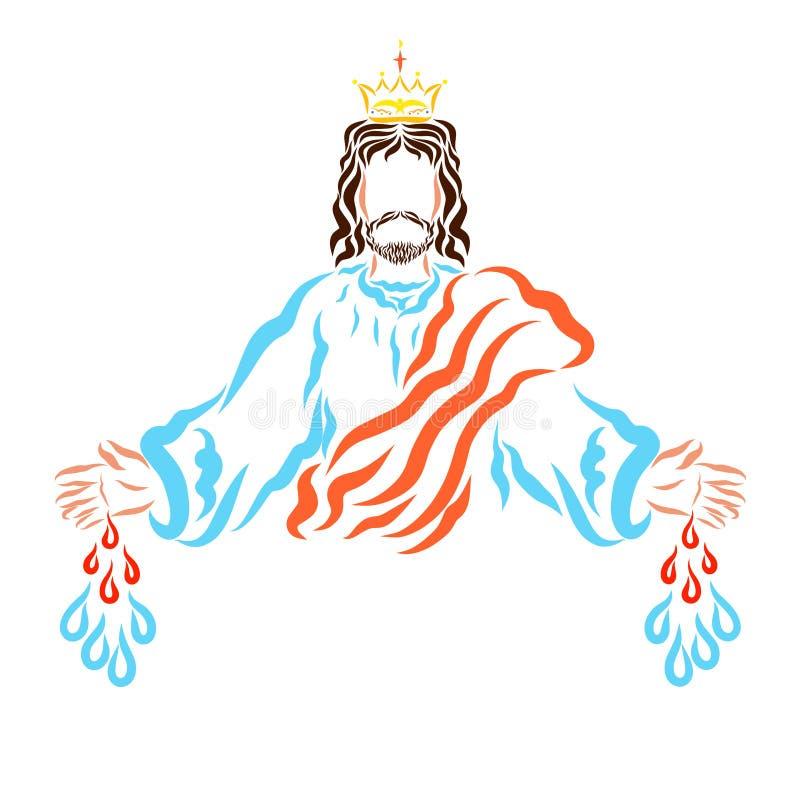 Baisses de guérison de sang et de chute de l'eau des mains du seigneur illustration libre de droits