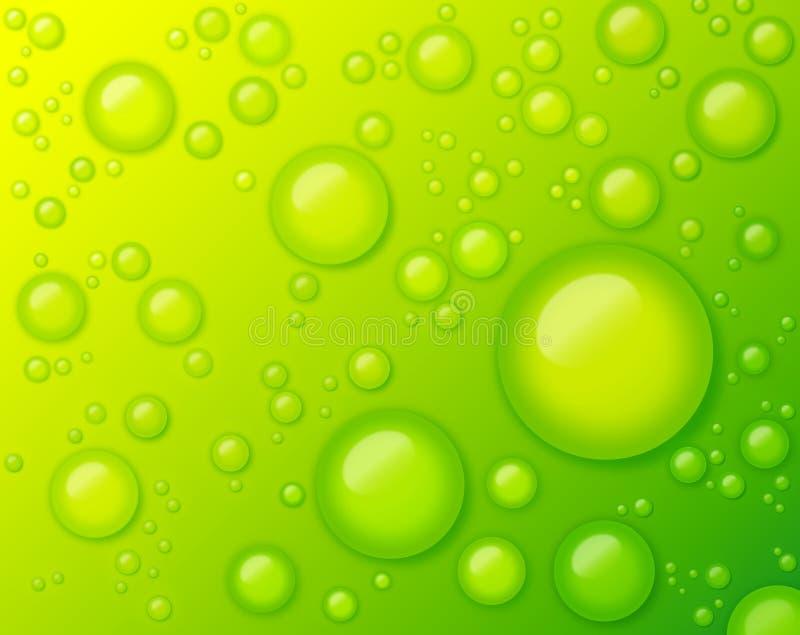 Baisses de l'eau sur l'abrégé sur vert fond photos stock