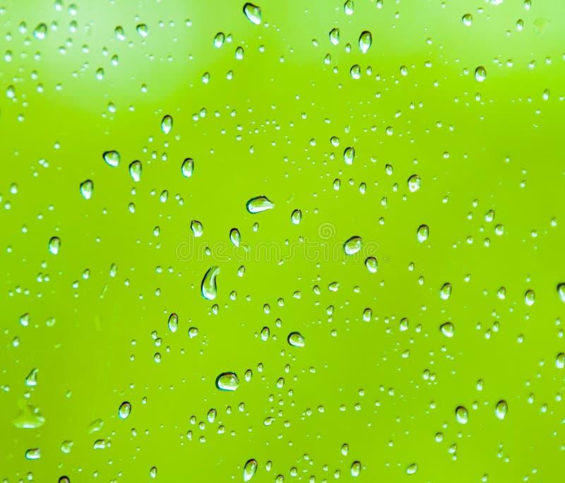 Baisses de l'eau sur un fond vert photos stock