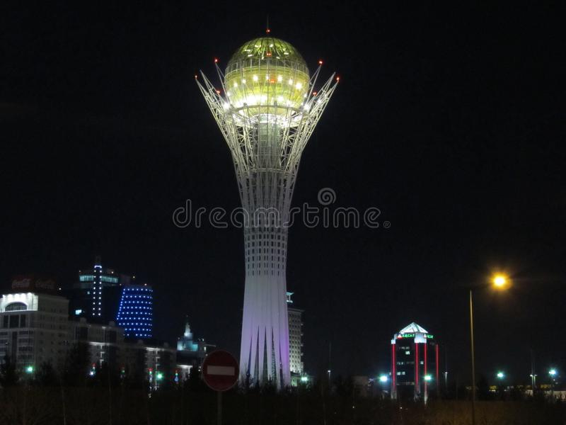 Baiterek astana Nursultan Kasakhstan Nursultan, Astana-18 mars 2011 fotografering för bildbyråer