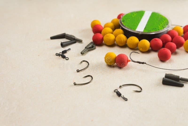 Baits, hooks , ledcor, prepare tackle tackle for carp fishing. Copy paste. Baits, hooks , ledcor, prepare tackle tackle for carp fishing royalty free stock photo