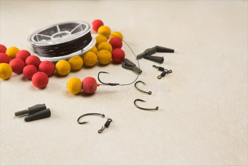 Baits, hooks , ledcor, prepare tackle tackle for carp fishing. Copy paste royalty free stock photos