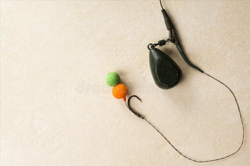 Baits, hooks, sinkers, ledcor, fishing tackle for carp fishing in collection. Copy paste royalty free stock photography