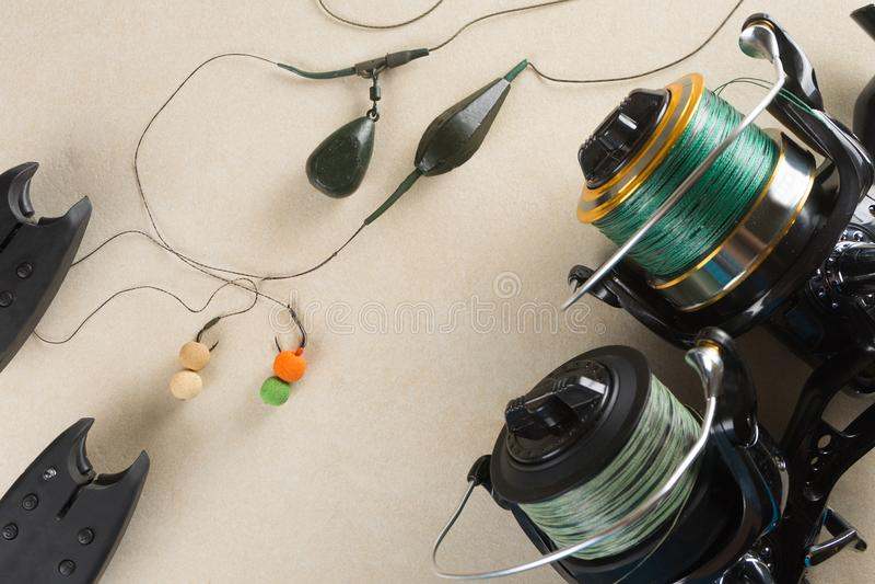 Baits, hooks, sinkers, reels, is preparing for carp fishing. Copy paste. Baits, hooks, sinkers, reels, is preparing for carp fishing royalty free stock photography