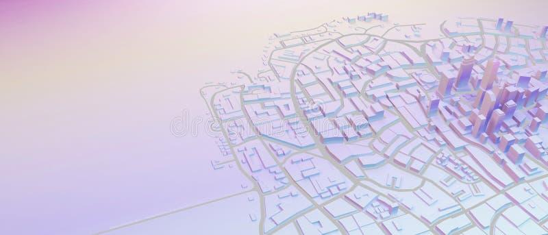 Baixa arquitetura da cidade poli nas cores pastel ilustração stock