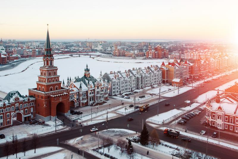 Baixa da cidade do Yoshkar-Ola, Rússia fotografia de stock