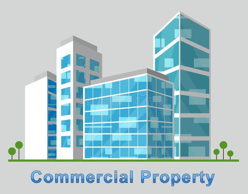 A baixa da propriedade comercial representa as construções 3d do centro IL ilustração royalty free