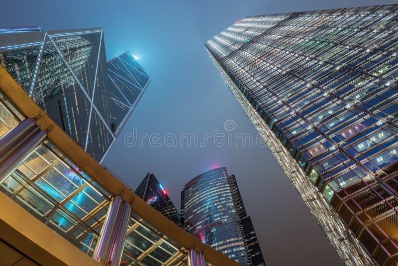 Baixa de Hong Kong e centro de negócios, construções de Skycraper fotos de stock