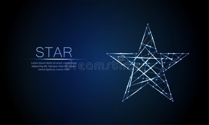 Baixa estrela de incandescência poligonal de cinco ângulos ilustração stock
