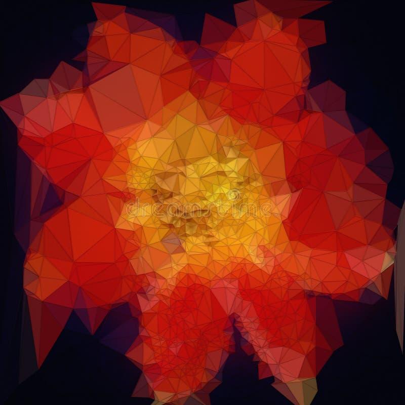 Baixa flor vermelha poli Elemento do projeto isolado no fundo escuro rendição 3d ilustração royalty free