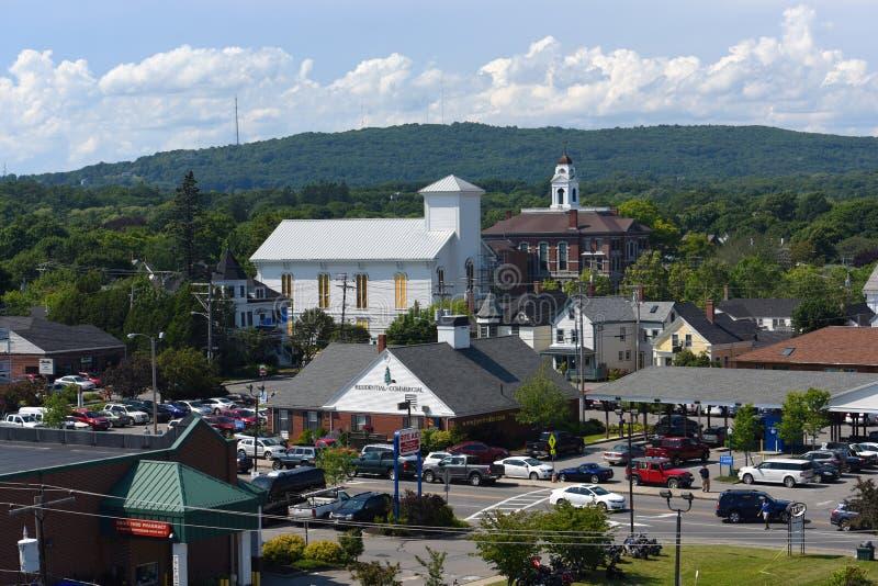 Baixa histórica de Rockland, Rockland, Maine imagens de stock