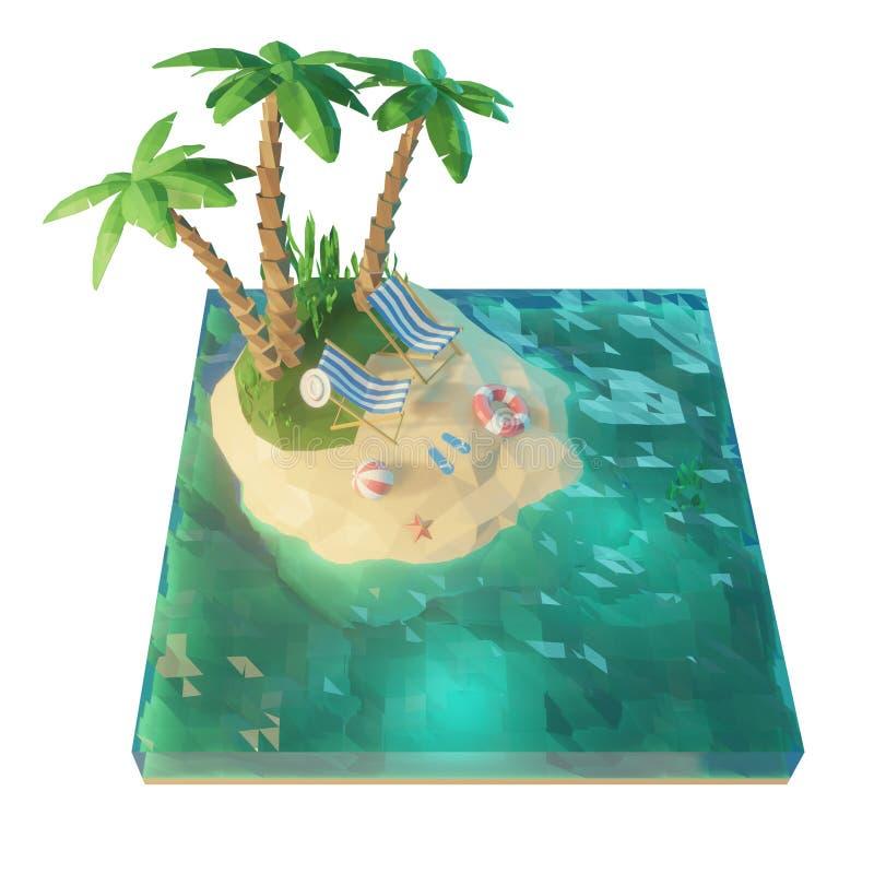 baixa ilha 3d tropical poli com mar, cadeiras de plataforma sob um guarda-chuva em uma praia Ilustração do conceito 3d das férias ilustração royalty free