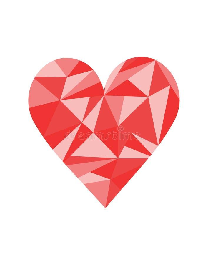 Baixa ilustração vermelha e cor-de-rosa poli do vetor do coração em formas geométricas fotografia de stock royalty free
