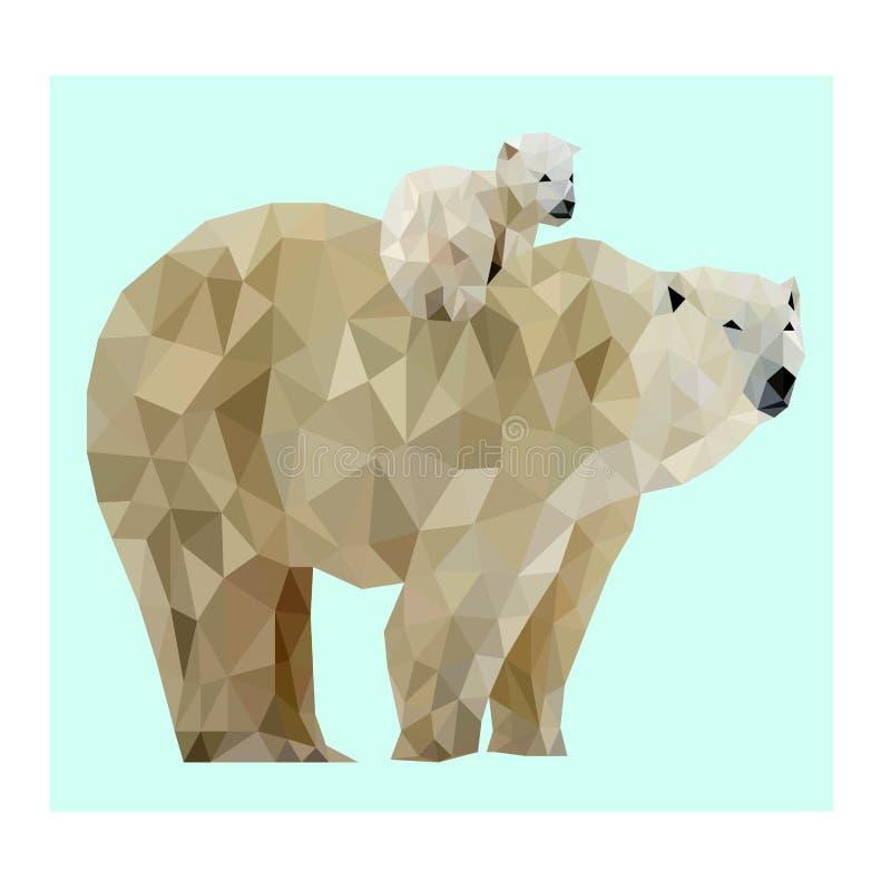 Baixa imagem poli do urso polar do vetor ilustração stock
