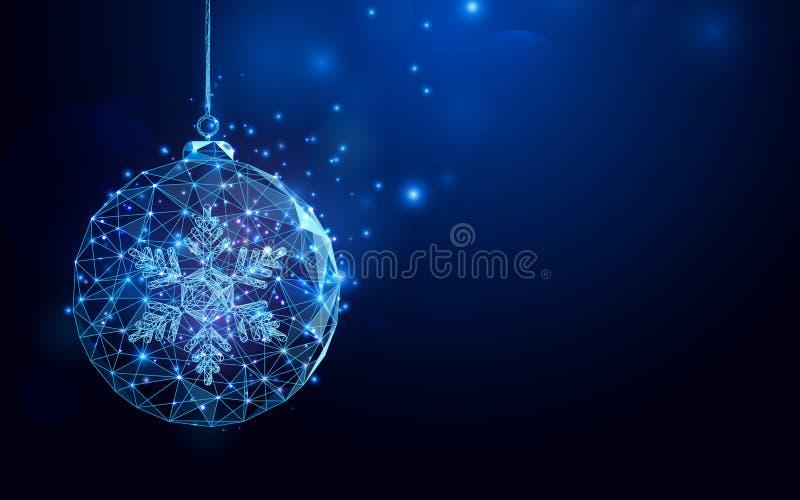 Baixa malha do wireframe da bola do Natal do polígono na obscuridade - fundo azul ilustração do vetor